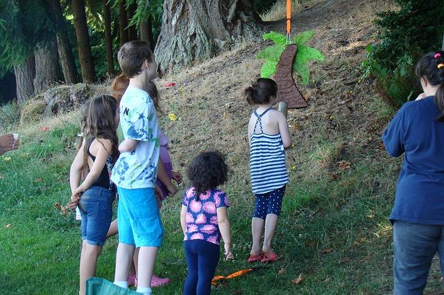 děti, palma, les
