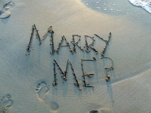 pláž, nápis, vezmeš si mě